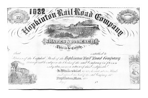1890 Hopkinton Railroad Co stock certificate